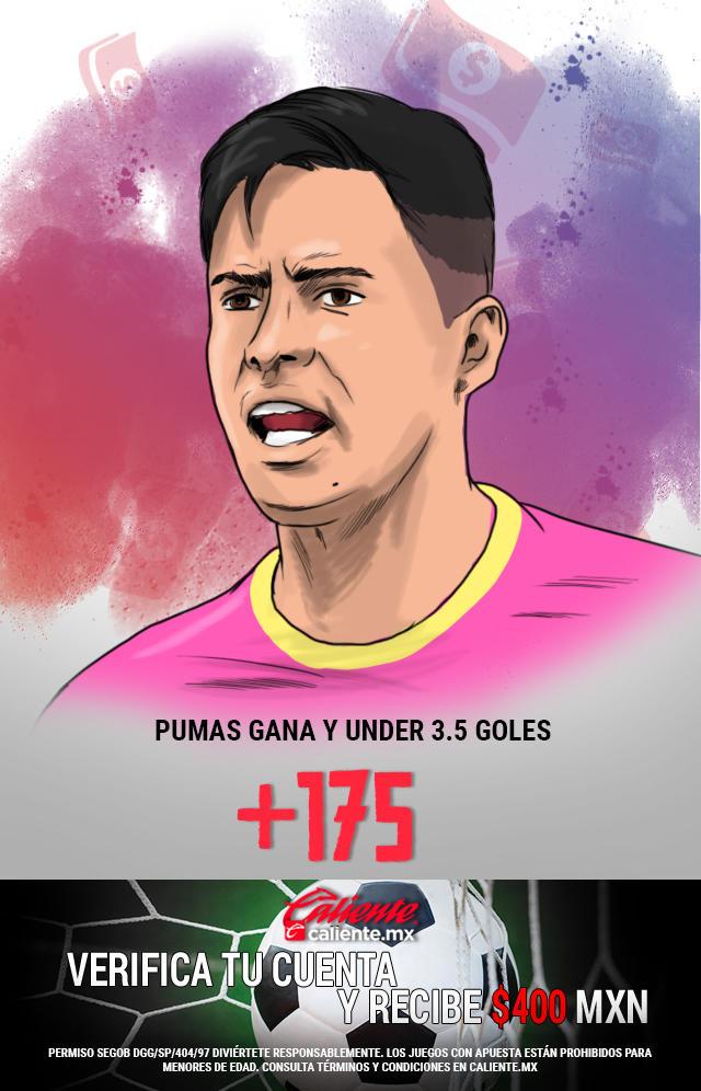 Si crees que Pumas gana vs Atlas y el partido es under 3.5 goles, apuesta en Caliente y llévate mucho dinero.
