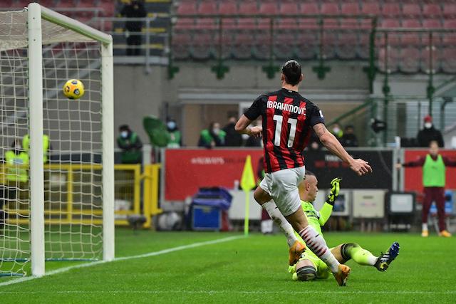 Imagen del gol 500 de Zlatan en la victoria del Milán