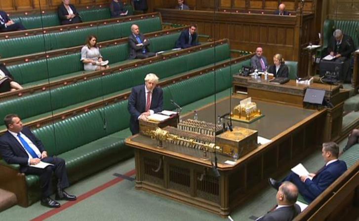 Boris Johnson en el parlamento inglés