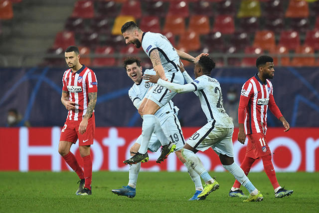 Oliver Giroud celebra su gol ante el Atlético