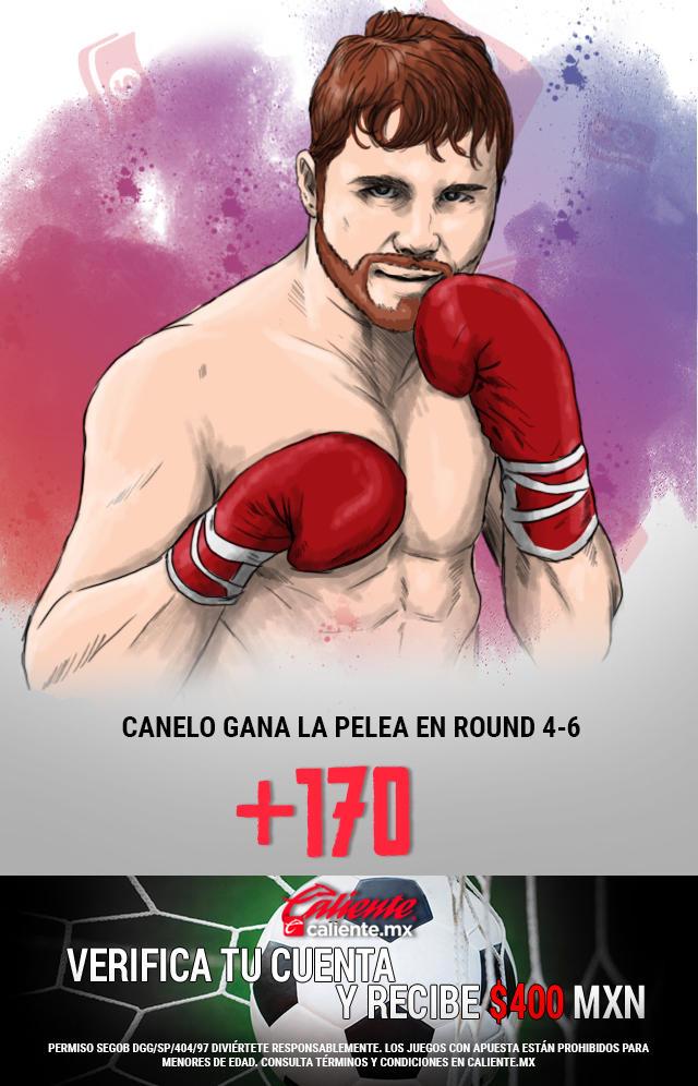 Si crees que Canelo gana la pelea entre el Round 4 a 6.  Apuesta en Caliente y llévate mucho dinero.