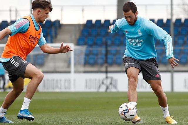 Eden Hazard durante el entrenamiento previo a enfrentar al Elche