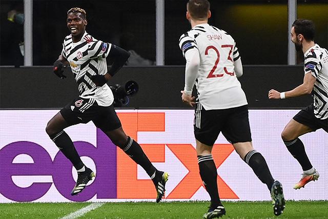 Paul Pogba celebra su gol ante el Milan