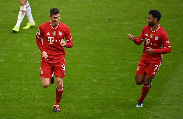 Lewandowski festeja uno de sus goles el día de hoy