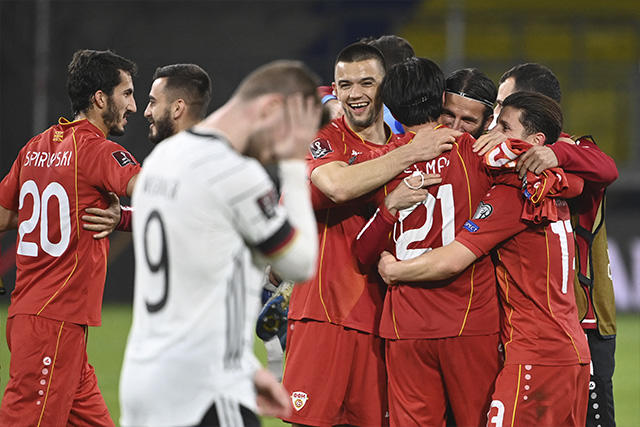 Macedonia protagonizó la sorpresa de las eliminatorias en Europa al vencer 2-1 a Alemania