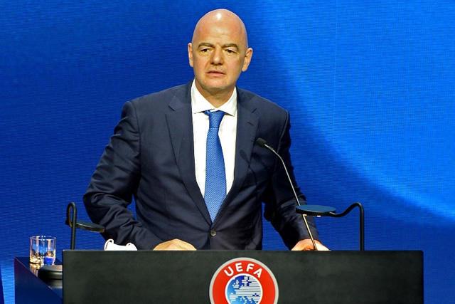 Gianni Infantino en su participación durante el Congreso de la UEFA 2021
