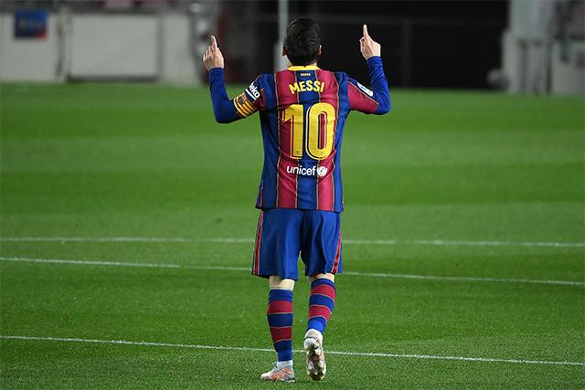 Messi celebra su doblete ante el Getafe