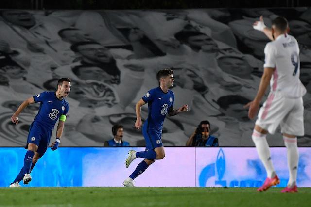 Los Blues celebran el gol de Pulisic