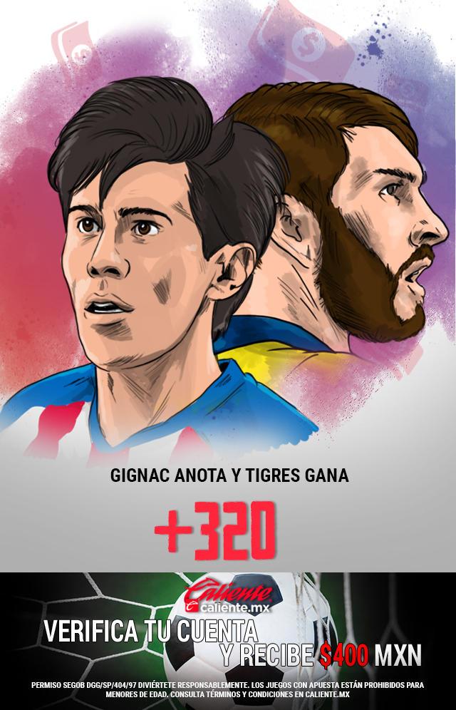 Si crees que Gignac anota y Tigres GANA en el partido vs Chivas, apuesta en Caliente y llévate mucho dinero.