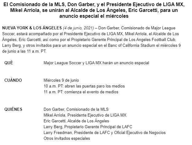 Invitación a la rueda de prensa con directivos de la MLS y la Liga MX