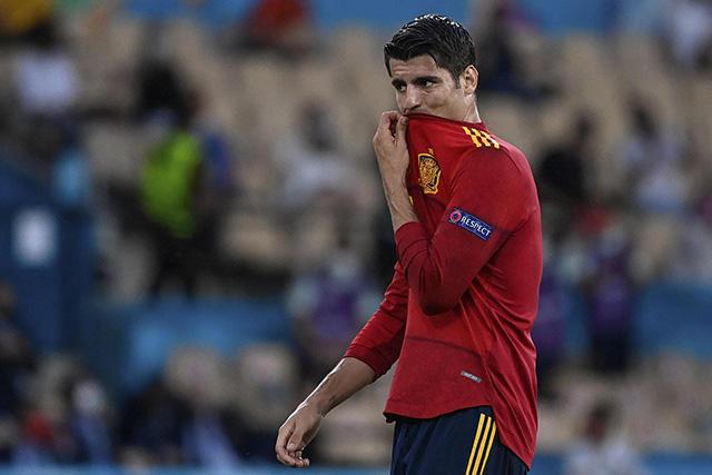 Álvaro Morata fue de los jugadores más señalados tras las fallas de gol ante Suecia