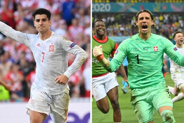 Morata y Sommer celebran la clasificación de sus selecciones en la Euro