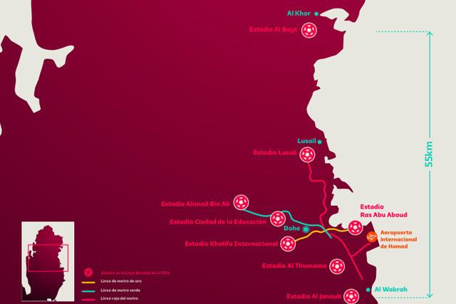Mapa de los estadios de Qatar 2022