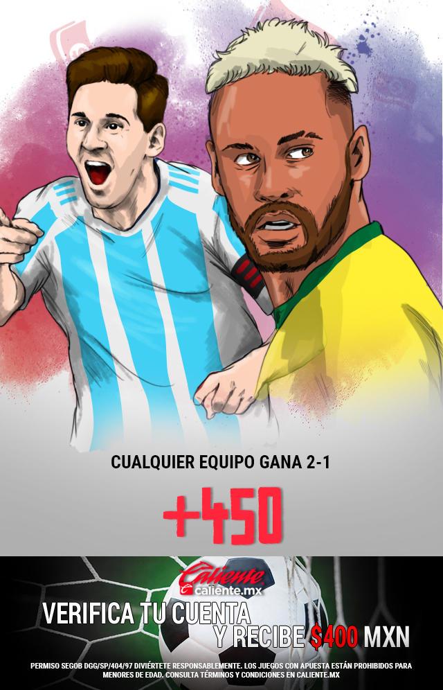Si crees que la final de la Copa América entre Argentina y Brasil acaba 2-1 favor cualquier equipo, apuesta en Caliente y llévate mucho dinero.