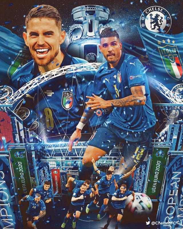 Jorginho y Emerson fueron felicitados por su club tras ganar la Euro con Italia