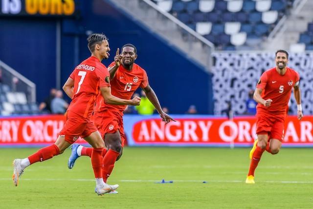 Eustáquio celebra su gol ante Haití