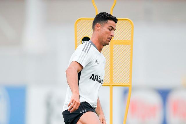 Cristiano Ronaldo en el entrenamiento de la Juventus