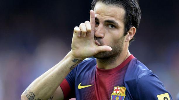 Cesc Fábregas celebrando con Barcelona