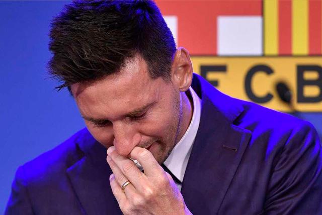 Messi en su despedida del Barcelona