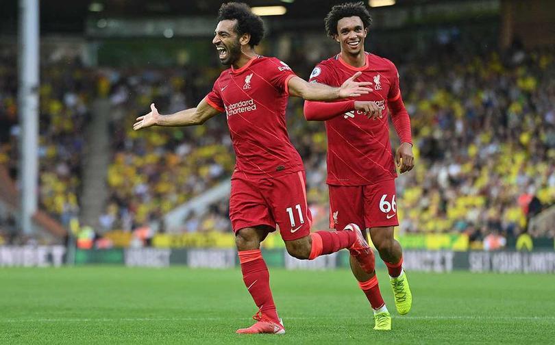 Salah celebrando el gol ante Norwich