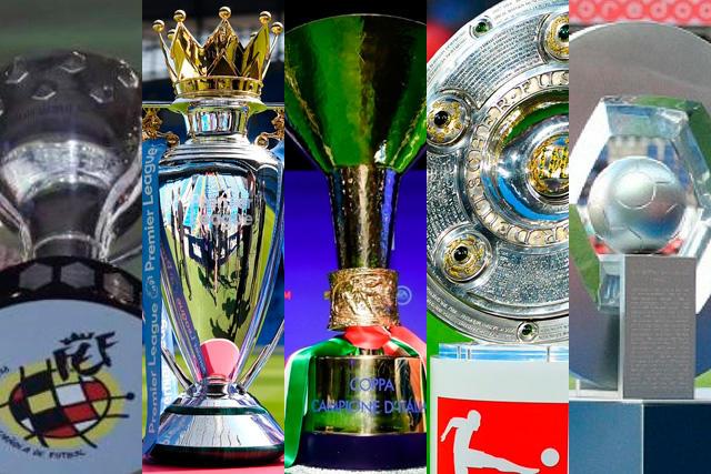 Trofeos de las cinco ligas más importantes de Europa