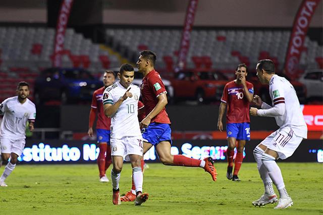 Orbelín Pineda celebra su gol ante Costa Rica