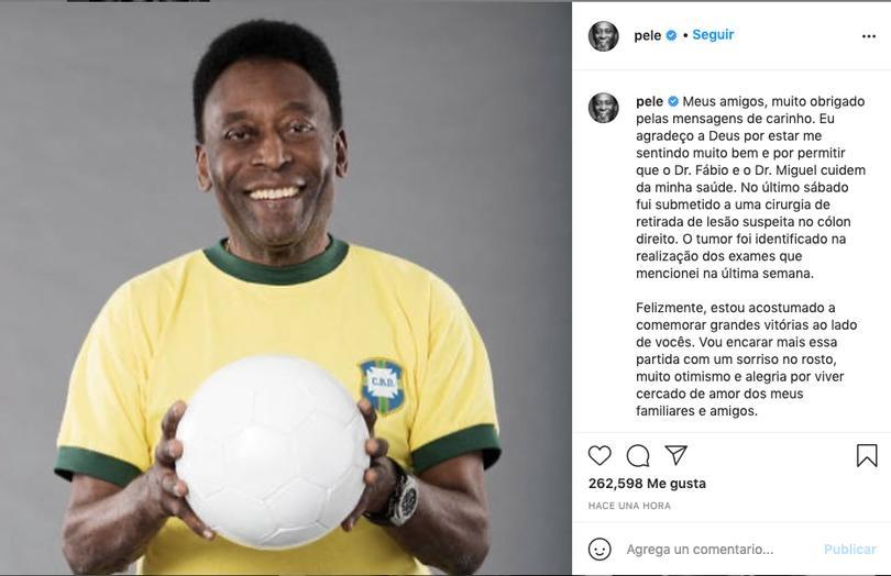 Mensaje de Pelé tras ser operado
