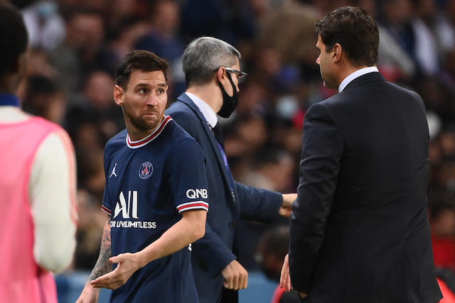 Lionel Messi salió molesto al ser sustituido por Hakimi